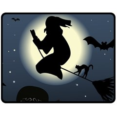 Halloween Card With Witch Vector Clipart Double Sided Fleece Blanket (medium)