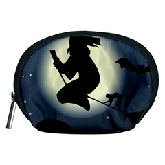 Halloween Card With Witch Vector Clipart Accessory Pouches (medium)