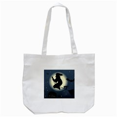 Halloween Card With Witch Vector Clipart Tote Bag (White)