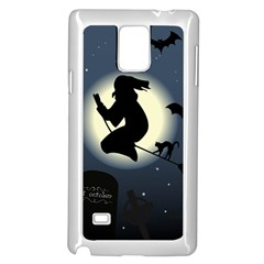 Halloween Card With Witch Vector Clipart Samsung Galaxy Note 4 Case (White)