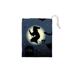 Halloween Card With Witch Vector Clipart Drawstring Pouches (xs)