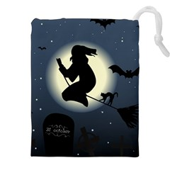 Halloween Card With Witch Vector Clipart Drawstring Pouches (XXL)