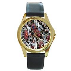 Quilt Round Gold Metal Watch