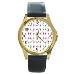 Reindeer Pattern Round Gold Metal Watch