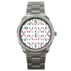 Reindeer Pattern Sport Metal Watch
