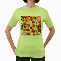 Flowers Blossom Bloom Nature Plant Women s Green T-Shirt
