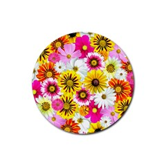 Flowers Blossom Bloom Nature Plant Rubber Round Coaster (4 pack)