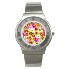 Flowers Blossom Bloom Nature Plant Stainless Steel Watch