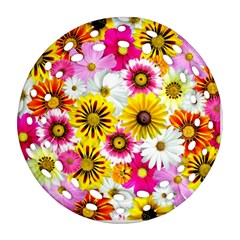 Flowers Blossom Bloom Nature Plant Round Filigree Ornament (Two Sides)