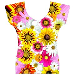 Flowers Blossom Bloom Nature Plant Women s V-Neck Cap Sleeve Top