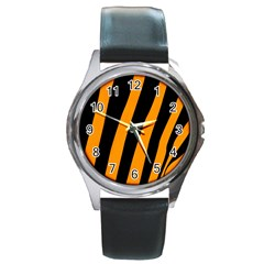 Tiger Pattern Round Metal Watch