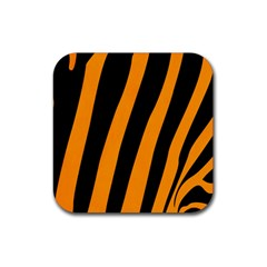 Tiger Pattern Rubber Square Coaster (4 pack)