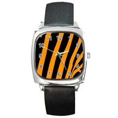 Tiger Pattern Square Metal Watch