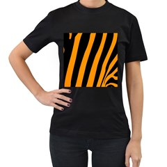 Tiger Pattern Women s T-Shirt (Black) (Two Sided)