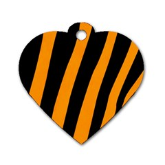 Tiger Pattern Dog Tag Heart (One Side)
