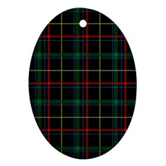 Plaid Tartan Checks Pattern Oval Ornament (Two Sides)