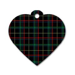 Plaid Tartan Checks Pattern Dog Tag Heart (Two Sides)