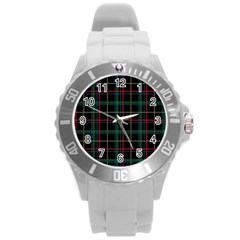 Plaid Tartan Checks Pattern Round Plastic Sport Watch (L)