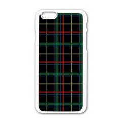 Plaid Tartan Checks Pattern Apple iPhone 6/6S White Enamel Case