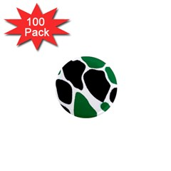 Green Black Digital Pattern Art 1  Mini Magnets (100 Pack)