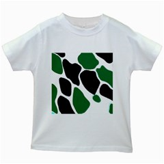 Green Black Digital Pattern Art Kids White T-Shirts