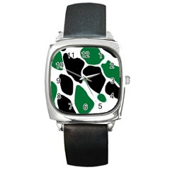 Green Black Digital Pattern Art Square Metal Watch