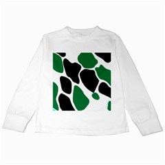 Green Black Digital Pattern Art Kids Long Sleeve T-Shirts
