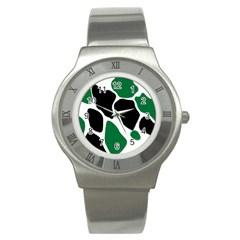 Green Black Digital Pattern Art Stainless Steel Watch