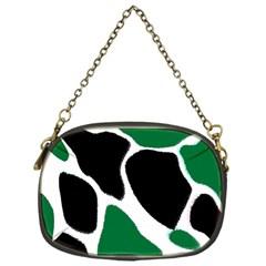Green Black Digital Pattern Art Chain Purses (One Side)