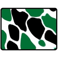 Green Black Digital Pattern Art Fleece Blanket (Large)