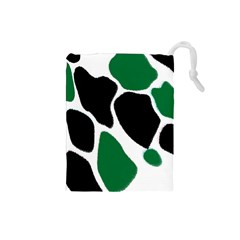 Green Black Digital Pattern Art Drawstring Pouches (Small)