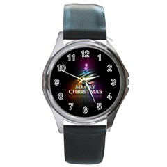 Merry Christmas Abstract Round Metal Watch