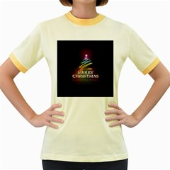 Merry Christmas Abstract Women s Fitted Ringer T-Shirts