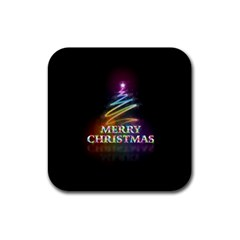 Merry Christmas Abstract Rubber Square Coaster (4 pack)
