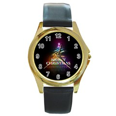 Merry Christmas Abstract Round Gold Metal Watch