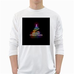 Merry Christmas Abstract White Long Sleeve T-Shirts