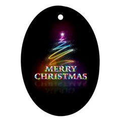 Merry Christmas Abstract Oval Ornament (two Sides)