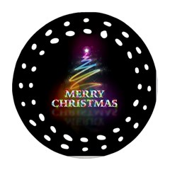 Merry Christmas Abstract Round Filigree Ornament (two Sides)