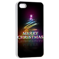 Merry Christmas Abstract Apple Iphone 4/4s Seamless Case (white)
