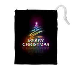 Merry Christmas Abstract Drawstring Pouches (Extra Large)