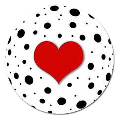 Red heart Magnet 5  (Round)