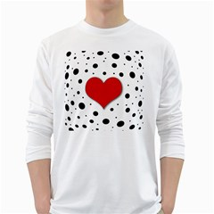 Red heart White Long Sleeve T-Shirts
