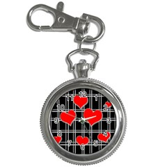Red hearts pattern Key Chain Watches