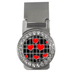 Red hearts pattern Money Clips (CZ)