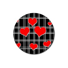 Red hearts pattern Magnet 3  (Round)