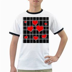 Red hearts pattern Ringer T-Shirts