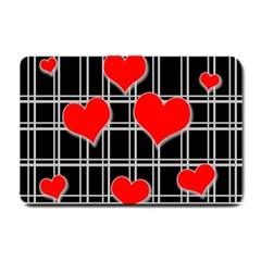 Red Hearts Pattern Small Doormat