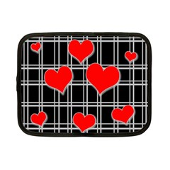 Red hearts pattern Netbook Case (Small)