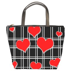 Red hearts pattern Bucket Bags