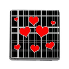 Red hearts pattern Memory Card Reader (Square)